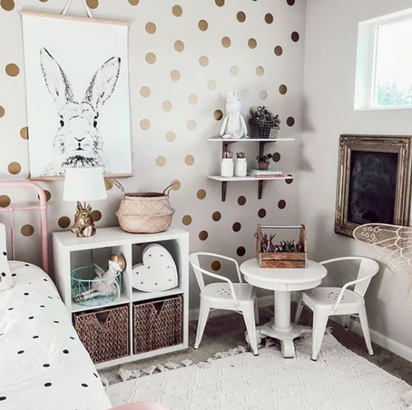 1 Set DIY Gold Dots Wall Stickers Decals Kids Nursery Room Home Decoration Gold
