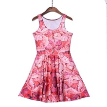 New Arrival Women's Dress Red Tropical plants Digital Printed Women Summer Casual Sleeveless Evening Party Slim Mini Dress