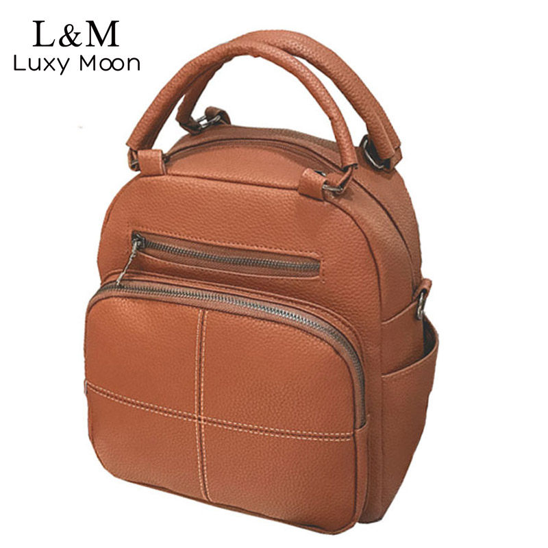 3354540e5da2 Luxy moon Women Leather Backpack Brown School Bag For Girls Female New  Travel Shoulder Bags Solid