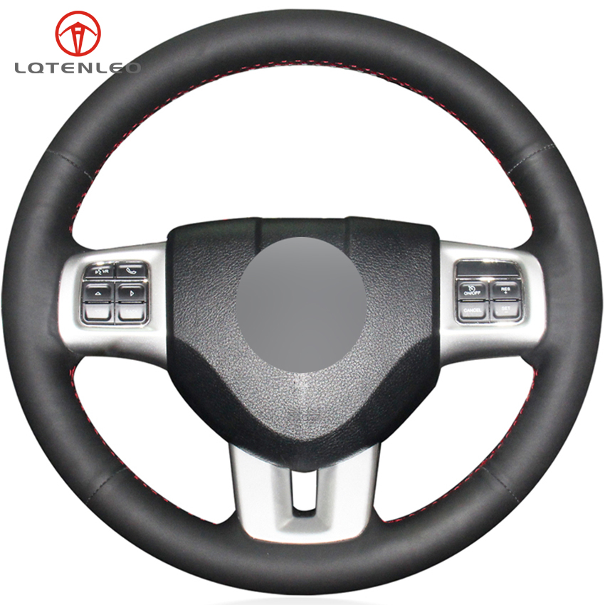 LQTENLEO Black Genuine Leather Car Steering Wheel Cover For Dodge Journey Jcuv Avenger Charger Durango Grand
