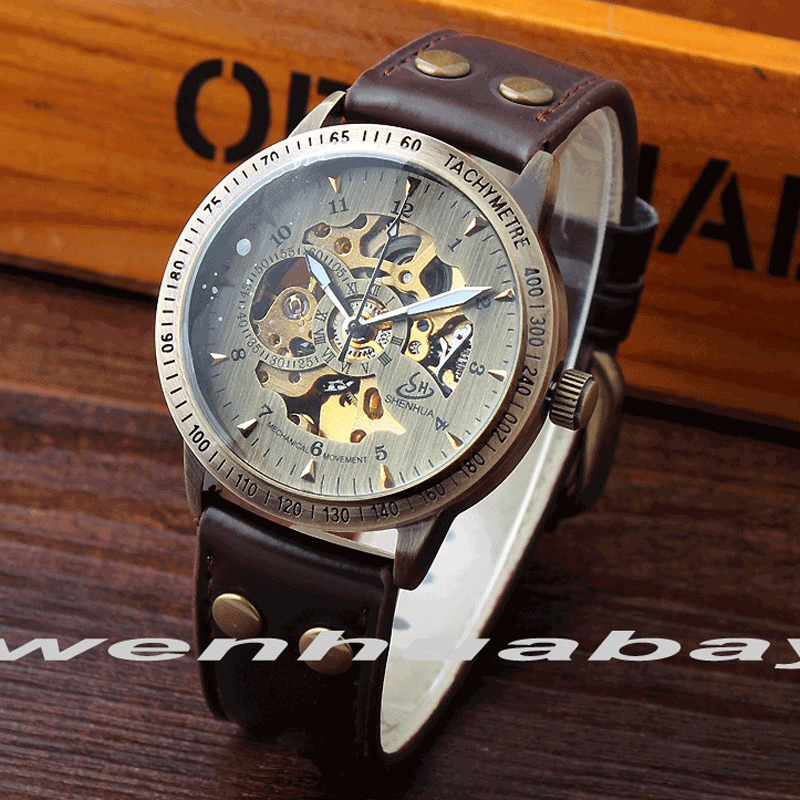 Vintage Bronze Automatic font b Mechanical b font Watch Lady Men Luxury Style Brown Genuine leather