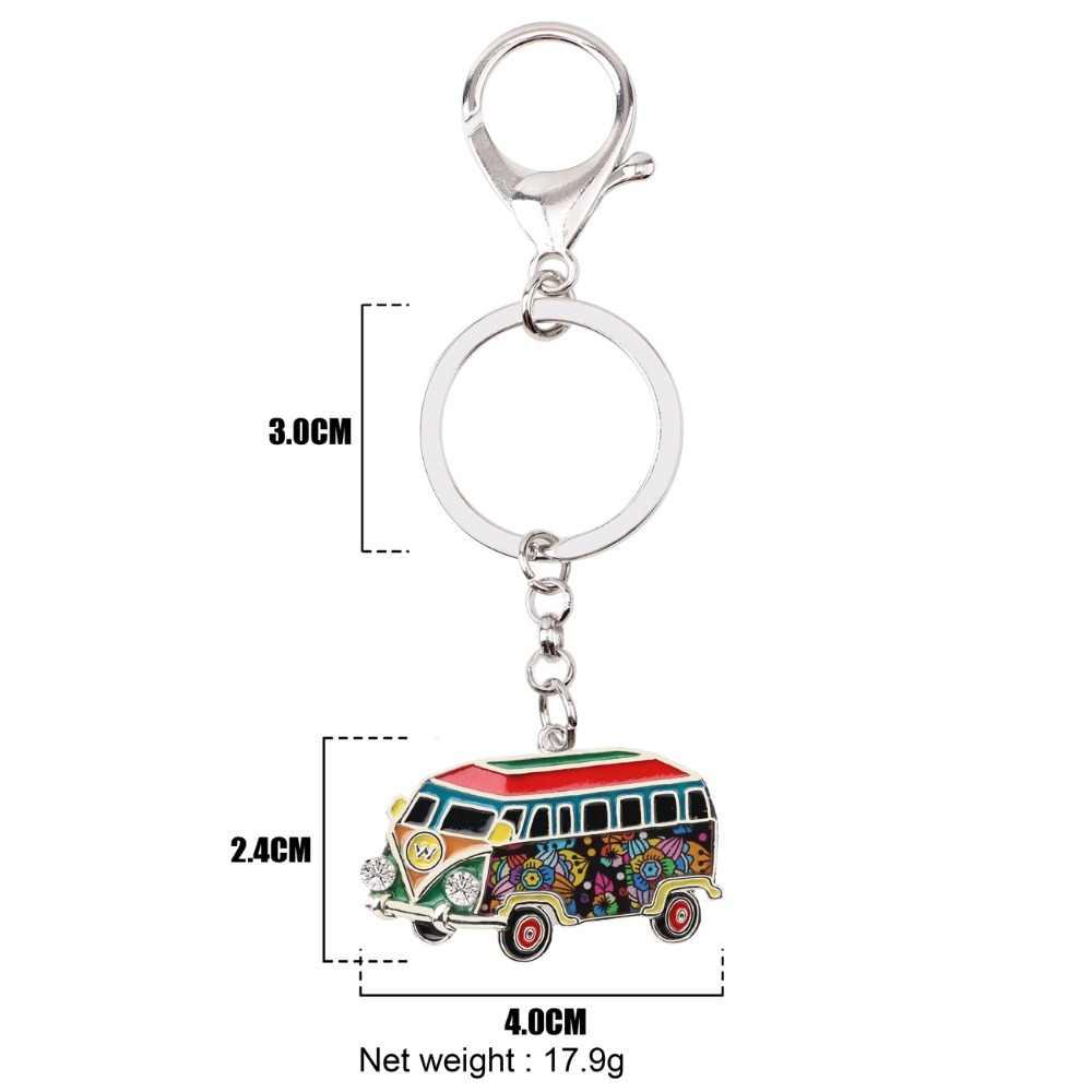 WEVENI Metal Bus forma de coche llavero bolsa encanto Van modelo llavero recuerdo moda accesorios esmalte joyería para las mujeres