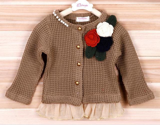 New baby girl cardigan jacket red brown long sleeve flower knitted cardigan jacket kids children cardigan jackets 5pcs/lot
