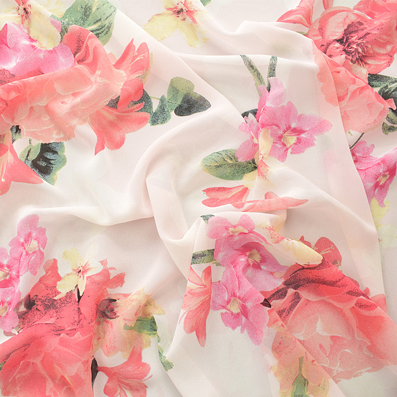 Polyester Silky Satin Fabric Watercolour Style Floral Flowers 145cm Wide