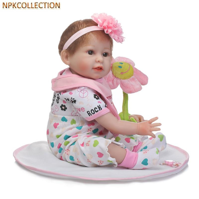 NPKCOLLECTION 50CM Real Dolls Baby Alive Bonecas Silicone Reborn Dolls for Girls Children,Realistic Doll Babies Soft Toys that look and feel real silicone reborn dolls children s intellectual toys baby all soft glue into the water baby babies reborn