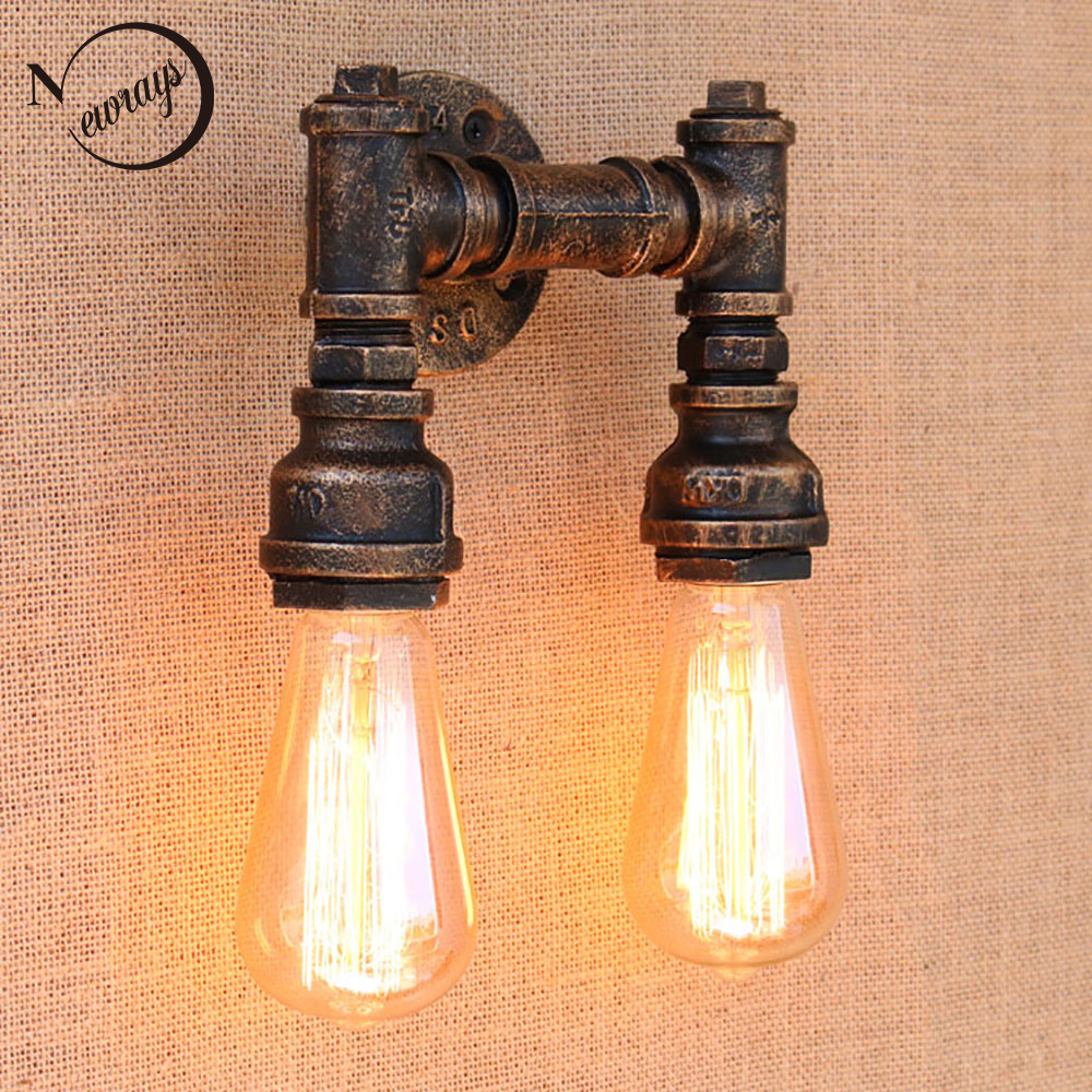 New design 2 lights iron Water pipe vintage wall lamp/Steampunk Pipe Wall Light 2 Lamps for hallway bedroom living room bar cafe