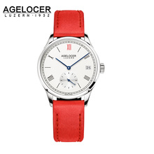 Agelocer Brand Ladies Watch Women Stainless Steel Watch Leather Sapphire Red Waterproof Mechanical Wristwatch Montre Femme