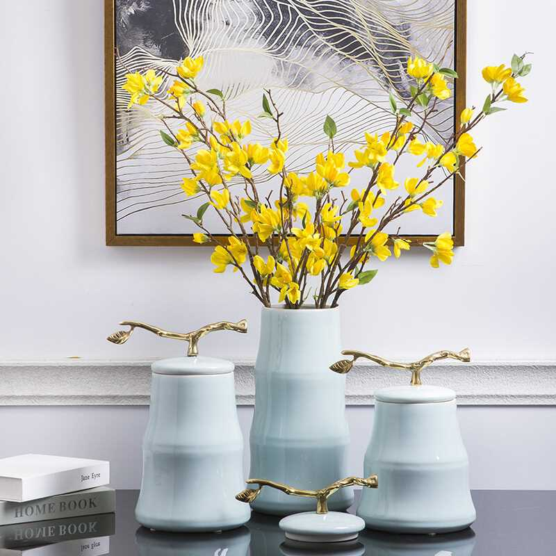cyan-blue ceramic creative classical flower vase home decor crafts room decoration wedding TV cabinet Decorative cans gifts