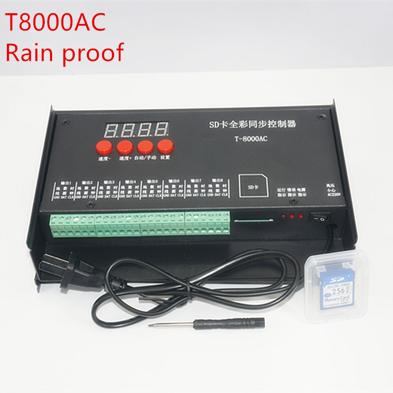LED controller T8000 SD Card Controller for WS2801 WS2811 LPD8806 8192 Pixels DC5V waterproof Rainproof controller AC110-240V купить в Москве 2019
