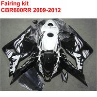 Injection molding Customize Fairing kit for HONDA cbr600rr 2009 2010 2011 2012 CBR 600 RR 09 12 black white fairings set LK49