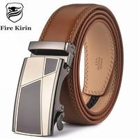 Fire Kirin Automatic Buckle Brown Belt Men 2017 Brand Designer Mens Belts Luxury Genuine Leather Belt