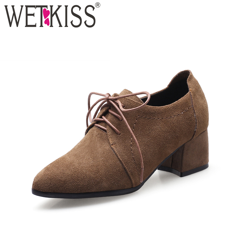 WETKISS 2018 New High Heels Women Pumps Pointed Toe Cow Suede Lace Up Thick Heels Footwear Spring Fashion Female Shoes Big Size new 2017 spring summer women shoes pointed toe high quality brand fashion womens flats ladies plus size 41 sweet flock t179