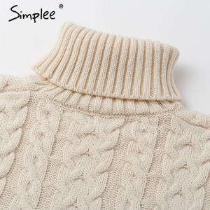 Image 5 - Simplee Elegante side split caldo manica lunga delle donne del vestito A Collo Alto fit autunno maglione di inverno del vestito Bianco abiti di moda 2018