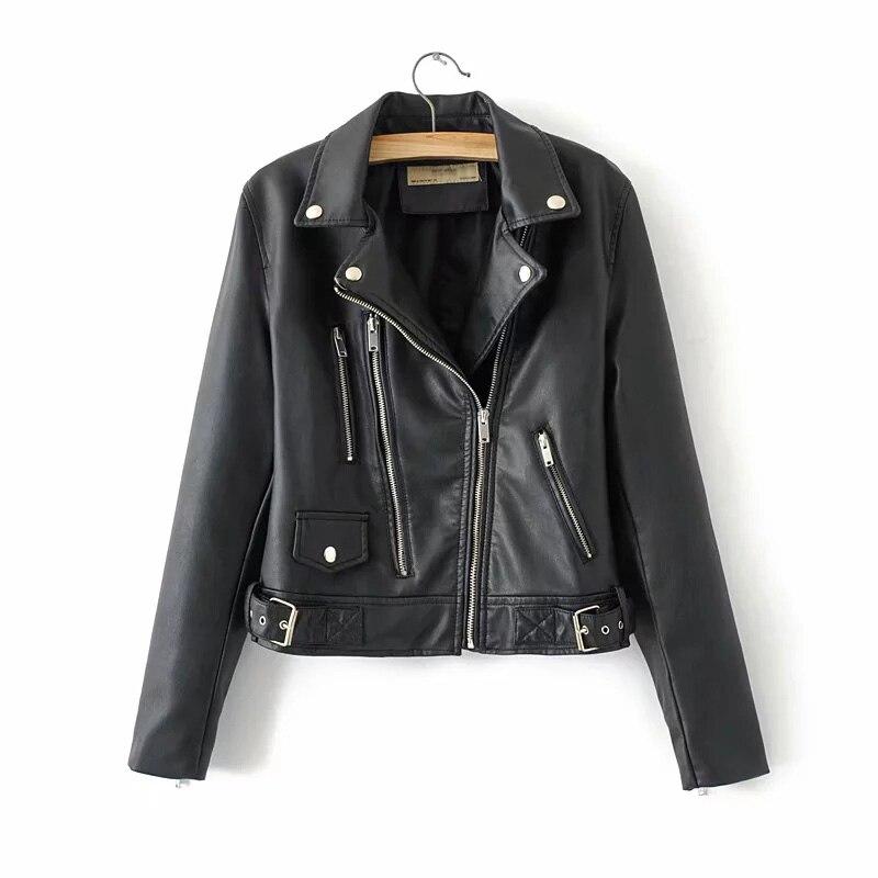 Klacwaya new fashion women PU   leather   jackets spring-autumn ladies moto-biker black jacket cool girls slim short bomb coats chic
