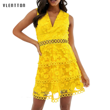 Sexy Hollow Out Lace Tank Yellow Dress For Women V-Neck Sleeveless Mesh High waist Mini A-Line Women's Party Dresses Vestidos lace insert high neck a line mini dress