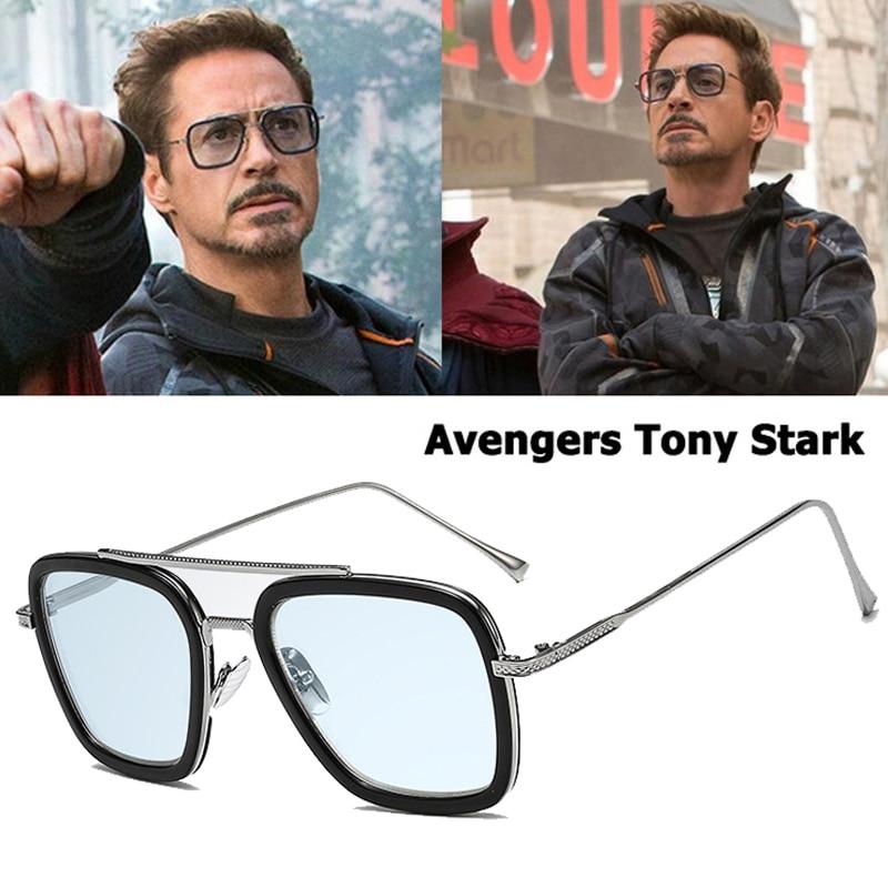 Mode Avengers Tony Stark Style De vol homme lunettes De soleil hommes carré marque Design lunettes De soleil aviation Oculos De Sol fer homme 3