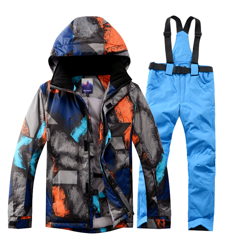 Winter Jacket+Pant Snowboard Men Waterproof Windproof Climbing Thermal Snow Outdoor Mountaineering Coat Male Large Size cqb winter men two piece set outdoor jacket waterproof windproof mountaineering coat camping hiking thermal jacket