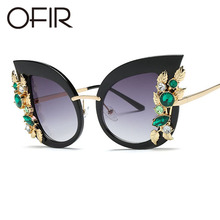 OFIR 2018 Fashion Sunglasses Big Cat Eye Metal Flower Green Precious Stones Frame Sun Glasses Aristocratic Lady Preference UV400