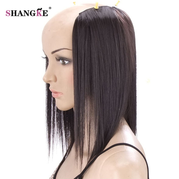 SHANGKE  2 Pieces 3 Clips In Hair Extensions Medium Straight Hairpieces Natural Fake Hair Pieces Heat Resistant Synthetic Hair