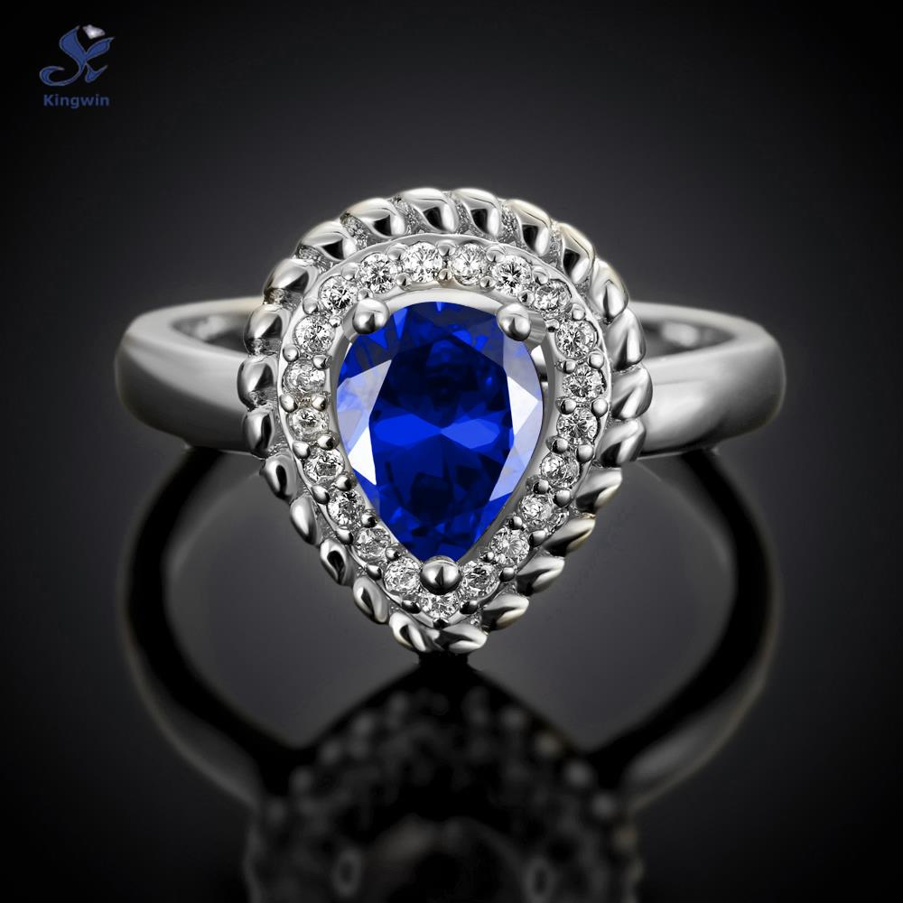 4c2499d47c8 Famous brand Paris designer Ring raindrop shape stone jewelry blue color  luxury silver engagement rings for women birthstone -in Rings from Jewelry  ...