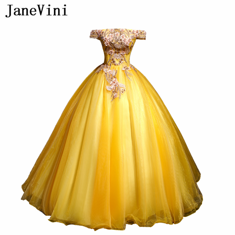 JaneVini 2019 Elegant Yellow Ball Gown   Prom     Dresses   Off Shoulder Lace Appliques Pearls Tulle Pageant Party Gowns Vestido Longo
