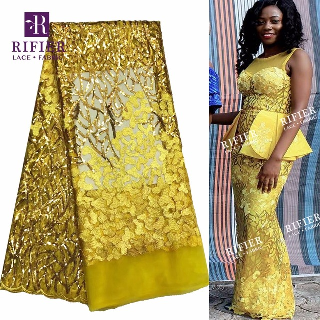 2018 High Quality Net Wedding Lace Fabric New Nigerian Sequins Tulle Mesh  Lace Yellow Color Lady badec62ed52a