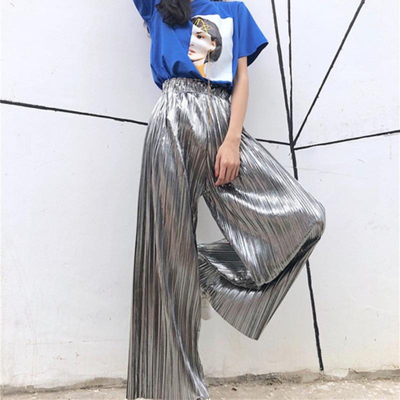 Women Wide Leg New Pant Loose High Waist Cotton Solid Flare Pants 2018 Summer Fashion Casual Ladies Elastic Trouser Pantalones