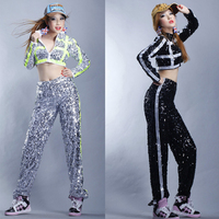 Jazz Dance Costumes Stage Clothes For Female Singers Sequined Jacket Pants Women Performing Clothes Cheerleader Costume DN2558