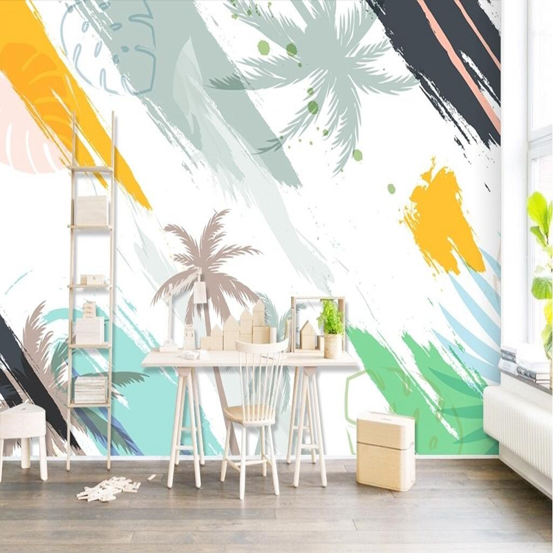 3D Customized any Size Wallpaper Modern Abstract Wall Mural Bedroom Lounge Home Decor Mural Fantasy Watercolor Coconut Wallpaper customized home personalized seamless integration of the abstract paintings lotus wallpaper 1x3m
