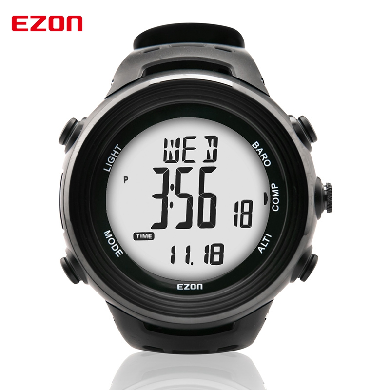 EZON Altimeter Barometer Thermometer Compass Weather Forecast Outdoor Fun Men Digital Watches Sports Climbing Hiking Hand Clock ezon multifunction sports watch montre hiking mountain climbing watch men women digital watches altimeter barometer reloj h009