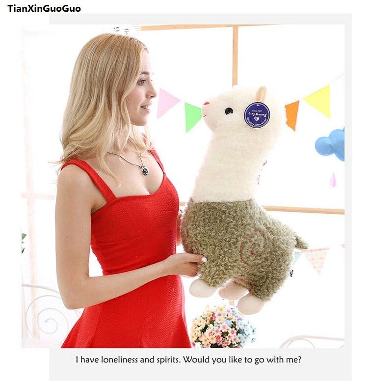Grand 55 cm belle alpaga vert peluche jouet doux poupée jeter oreiller cadeau d'anniversaire s1051