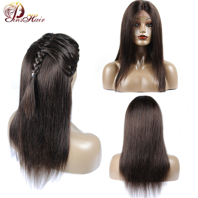 Pinshair #2 Natural Black Human Hair Wig For Women Peruvian Straight Lace Front 4*4 Closure Wig With 150% Density Thick Non Remy
