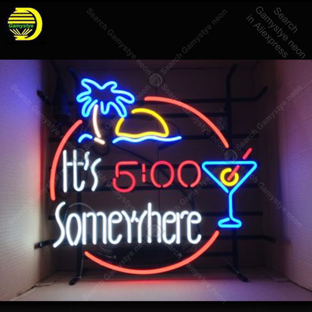 Neon Signs for It is 5 somewhere Neon bulbs sign Restaurant Beer Bar ROOM window Lamp store display neon Art enseigne Handcraf
