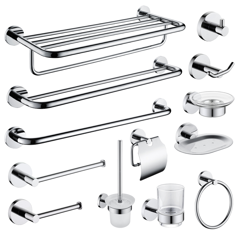 High Quality SUS 304 Stainless Steel Bathroom Hardware Set Chrome Plated Towel Rack Paper Holder Towel Ring Wall Mounted