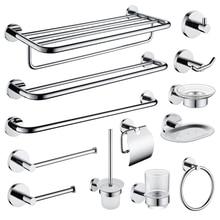 цена High Quality SUS 304 Stainless Steel Bathroom Hardware Set Chrome Plated Towel Rack Paper Holder Towel Ring Wall Mounted онлайн в 2017 году