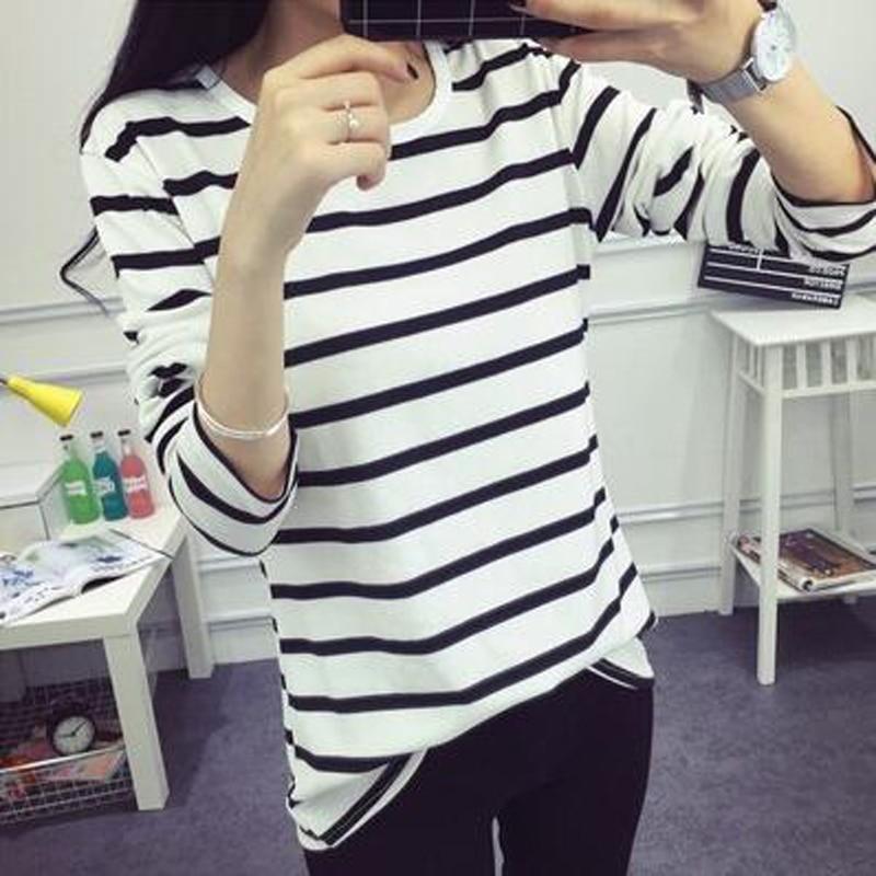Новый Модная футболка Для женщин с длинным рукавом О Средства ухода за кожей Шеи черный, белый цвет в полоску женские футболки Демисезонный ...
