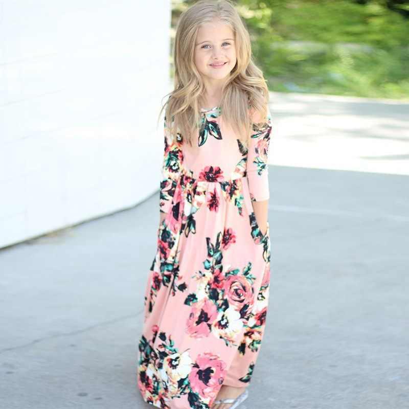 7190ec0a4715 2018 new Long Dress Fashion Trend Bohemian Dress for Girls Beach Tunic  Floral Autumn Maxi Dresses