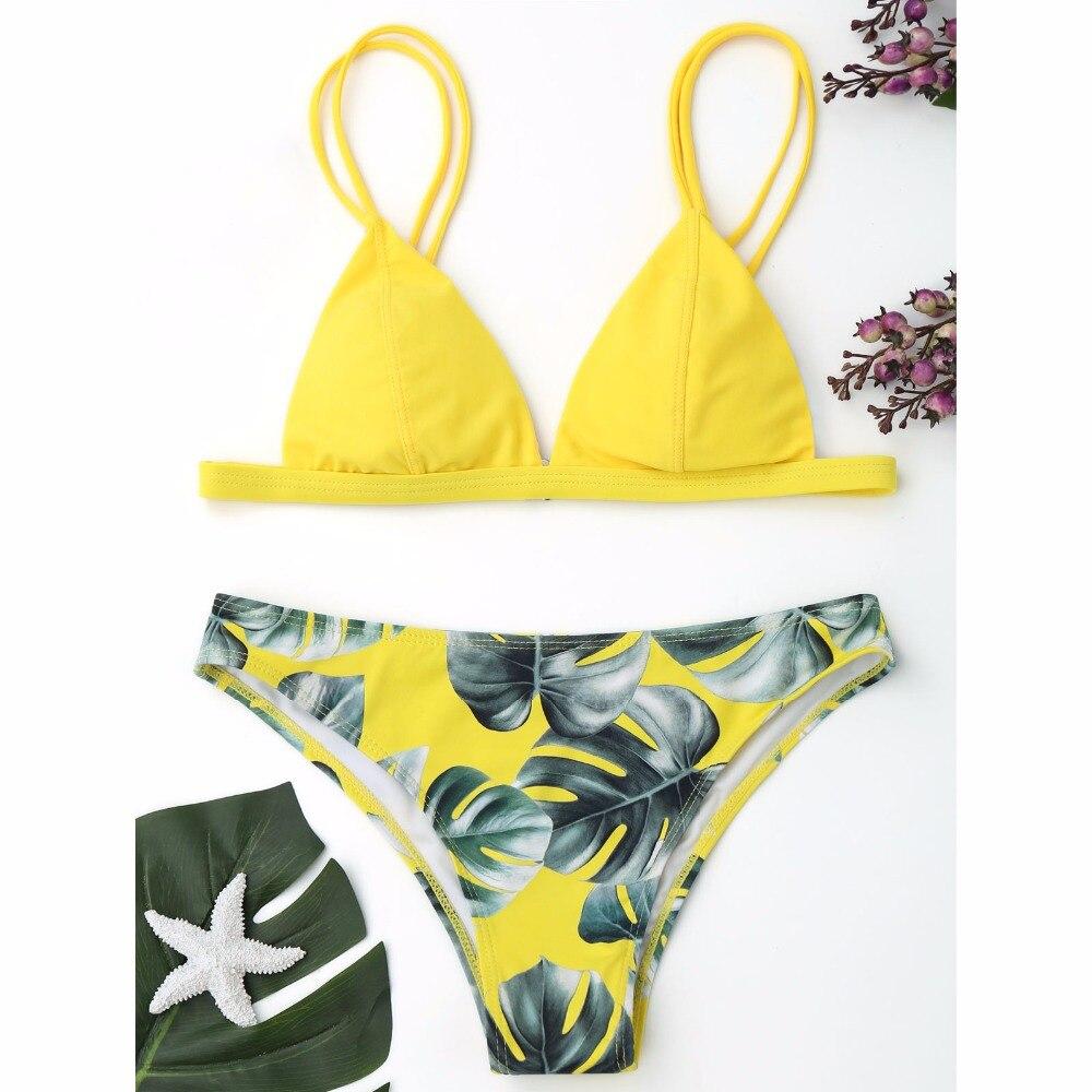 ZAFUL Sexy Brazilian Bikini Set Swimwear Women Swimsuit Bathing Suit Cami Palm Leaf Print Biquini Swim Suit Maillot De Bain 2