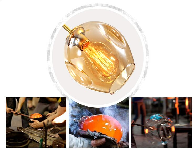 Nordic Industrial Style LED Ceiling Lights Glass Ceiling Lamp Restaurant Hanging Lamp Living Room Lamp Bedroom Cafe