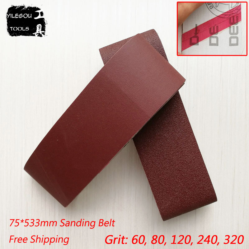 "5 Pieces 75*533mm Sanding Belts 533 * 75mm Sanding Band 3"" * 21"" Sanding Screen With Grit 60 To 320 Soft Cloth For Belt Sander"