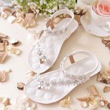 b4662d9a7 2018 الصيف النساء الصنادل أزياء البوهيمي الزهور Sandalias الإناث عارضة ثونغ  الشقق أحذية الكريستال حجر الراين