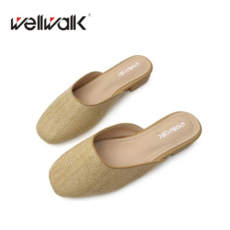 Классический Для женщин плоские тапочки 2018 круглый носок Повседневное Шлёпанцы Кейн трава ткачество специальные Для женщин обувь летом за ...