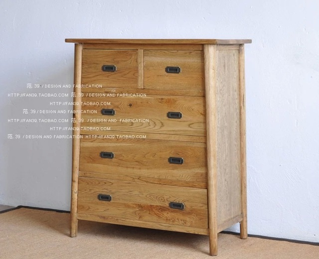 Loft American Country Style Chest Of Drawers Made Of Pine Wood Retro Old Mediterranean Style Lockers
