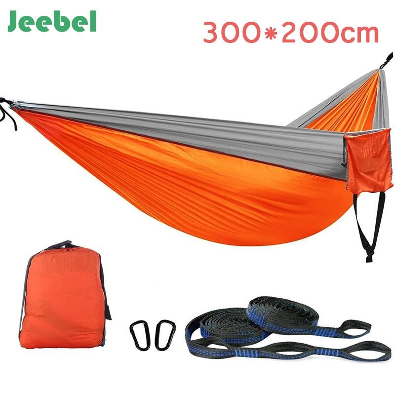 Jeebel Portable Lightweight Nylon Parachute Double Hammock Multifunctional 2 People Hamak Camping Backpacking Travel