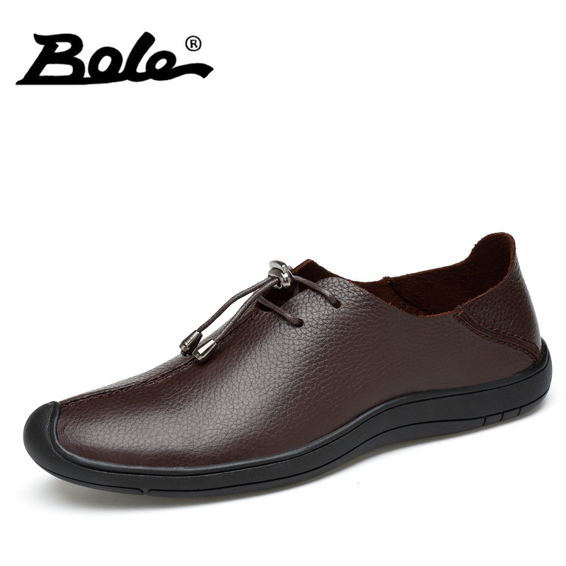 BOLE New Designer Slip on Men Leather Shoes Big Size 37-45 Fashion Breathable Shoes Men Flat Loafers Handmade Shoes Men Footwear fashion tassels ornament leopard pattern flat shoes loafers shoes black leopard pair size 38
