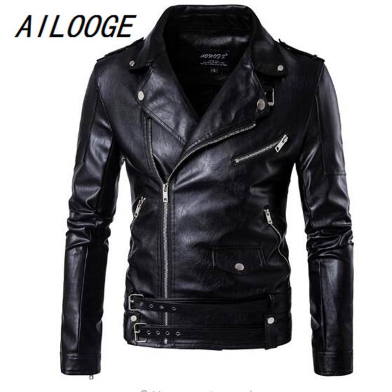 2018 hommes Top noir couleur décontracté en cuir vêtements Zipper et ceinture décorer automne et hiver manteau Zipper bracelet en cuir veste