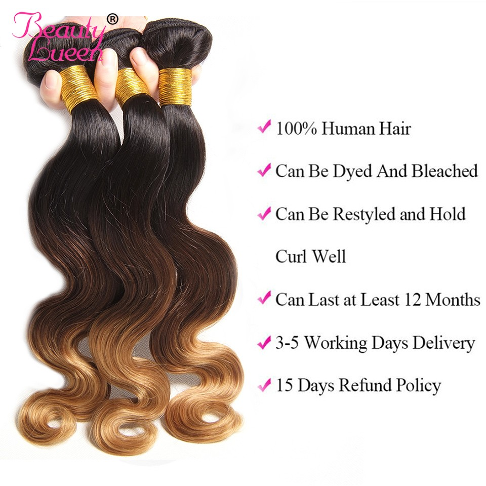3 Bundles blonde brazilian body wave with closure ombre bundles with closure 4Pcs T1B427 3 tone human hair Extension Remy hair (15)