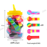 20X unbreakable silicone hand Pipe with plastic box Tobacco Smoking Pipe with metal bowl