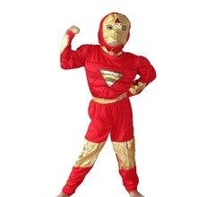 Хэллоуин вечерние костюмы Мышцы Мальчика модель одежды, малыш мышцы Железный человек Косплэй одежда,-Футболка с рукавами Размер: S-XXL