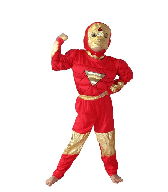 Halloween Party costumes muscle Boy's model clothing,kid muscle Iron man Cosplay clothing,Long-sleeved T-shirt size:S-XXL